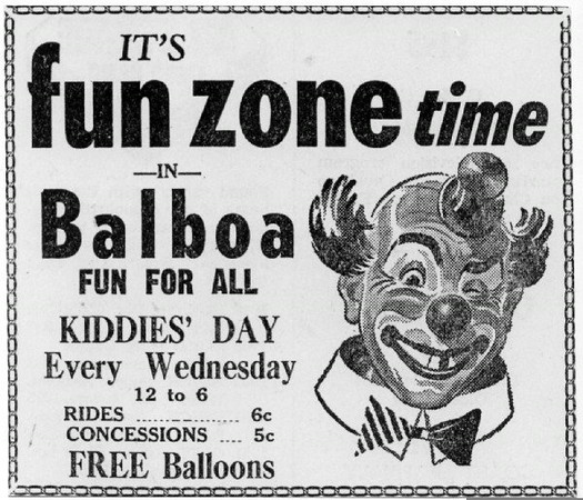 Balboa Fun Zone Advertisement, 1940s<br /> (Shared from:  Jeff Powell)