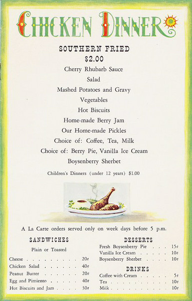 Menu, Knott's Chicken Dinner Restaurant, 1950s<br /> A feast for two bucks!<br /> (Shared from:  Jeff Powell)