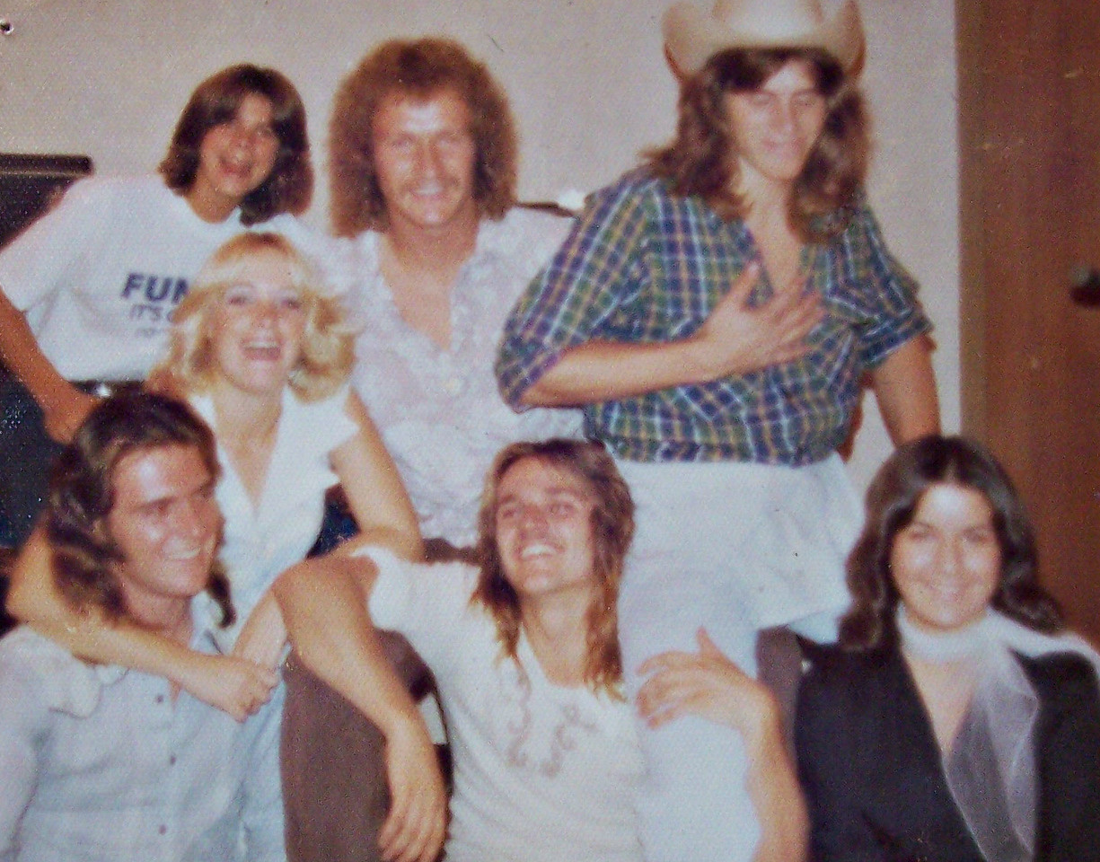 """Vicki Skinner & Cathy Fedele with the band FUNGUS (""""It's Organic Rock & Roll"""" - """"Fungus Among Us"""") that I did p.r. for in my senior year of high school.  Top left corner - Detwiller.  Guy with curly hair - Jon Stout - 1975."""