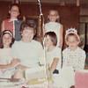 9th Birthday Party/3rd Grade. <br /> Top Row:   Nancy Derickson & Me (Vicki Skinner - change of outfits - white tank top in the back<br /> Debbie Hoffman (or Cheryl?), ?, Mrs Sears, Ingrid Nurmberg, Kay Duntley, Wendy Thatcher - Orange, California - 1966