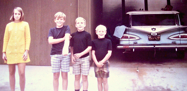 "Me (Vicki Skinner) in the first dress I bought myself with my babysitting money - age - 12 - with my brothers Michael, Billy & JB!!  Anyone remember the ""Blue Bomb"" & rides to the beach (with the hole in the floorboard & dropping things along the way)!!!"
