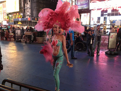 """""""Feathers, shoes, string, paint"""" on Time Square, New York City, NY"""
