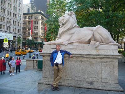 Bob Skinner standing outside the New York Public Library.