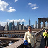 Bob Skinner walking across the Brooklyn Bridge