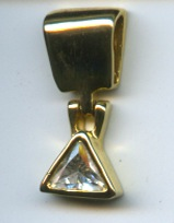 Cubic Zircon Goldtone Triangle Shaped Slide <br /> REDUCED FOR QUICK SALE - $20 (was LOTS more)