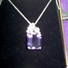 14K White Gold Necklace with Amethyst Emerald Cut slide.  This is a BIG piece!!<br /> REDUCED FOR QUICK SALE - $200  (reduced from $250 though I paid a LOT more!)