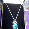 14K White Gold Necklace with Blue Topaz Emerald Cut slide.  This is a BIG piece!!<br /> REDUCED FOR QUICK SALE - $200  (reduced from $250 though I paid a LOT more!)