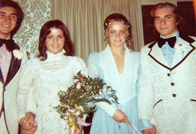 Cathy Fedele, Vicki Skinner, David Fox (Foothill High, Tustin) at El Modena High school prom (or Christmas dance??) - 1973-ish