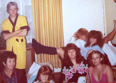 My cousins - the Derickson's - Mark (RIP), Robbi-dob Robin, Nancy, Me (in the low cut fuschia nightgown), SandRA (back left), Patti - 1980