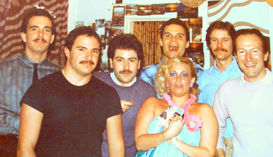 "1980-1981 - My 2nd party in my TINY San Francisco studio at 1163 Pine Street!!!    Left to Right: ??, Phil Gomez, Brian Vouglas, ME - Vicki Skinner (yup - that blonde is ME - the ORIGINAL ""Sarong Goddess""!!), John???"
