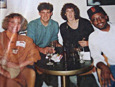 Vicki Skinner, __, ___, Eugene Jones Jr at San Francisco Giant's Game VIP area.