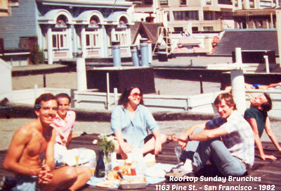What FUNNNN TIMES!!  We used to regularly have Sunday Brunches on the rooftop at my apartment at 1163 Pine Street.  Left to Right:  Mark Rouche (RIP my sweet friend), Gary Hicks, Ann___, ___, ____
