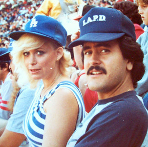 Albert Cisneros & Vicki SKinner - at a San Francisco Giants vs Los Angeles Dodgers baseball game.  I had started the Northern California chapter of the Go-Go Dodgers Fan Club!!