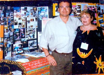 Vicki Skinner with Mario Muneton working one of the Travel Expos - 1996-ish?