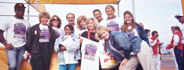 Eugene Jones (far left), Vicki Skinner (holding t-shirt/red socks) at Big Brothers Big Sisters of San Francisco Kite Festival Vicki Coordinated.