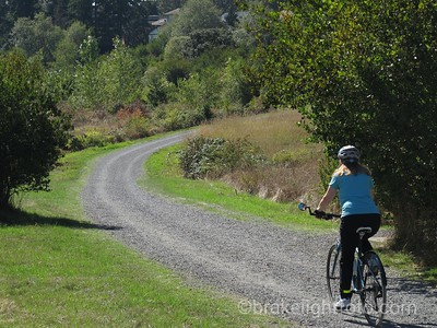 Biking through Panama Flats to Colquitz Trail