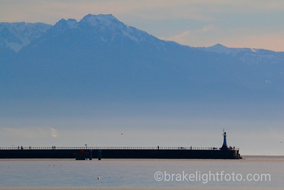Ogden Point Breakwater & the Olympic Mountains