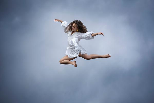 Victoria Davis, Tabata Vara and Jenna Kristine jump and dance on the trampoline
