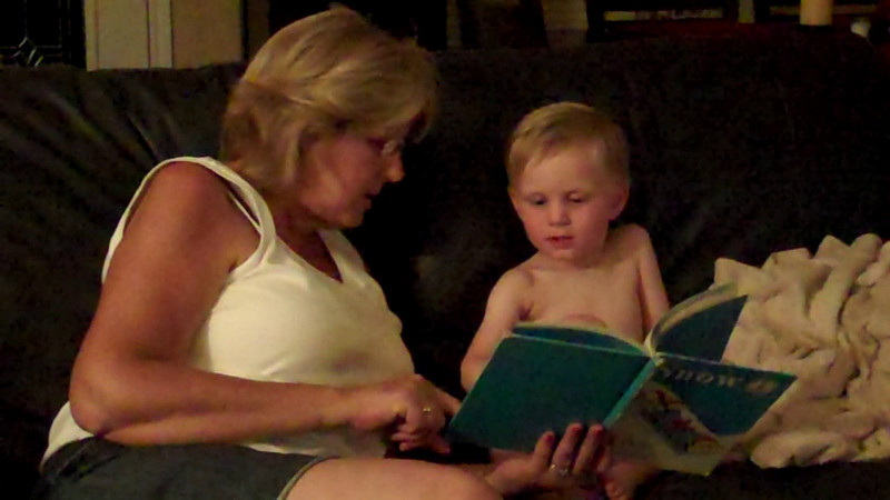 Grammy and Kyle reading a book (July 2010).