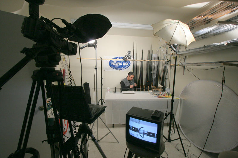 Skimmeroutdoors and Steve Petri have teamed up on a new DVD production. Steve Petri is a renowned rod builder and has been crafting custom rods for over twenty five years. This production was shot with multiple cameras so the viewer can see in close up detail all the steps of building a rod. We made great use of our  overhead camera to give the viewer the same vantage point as Steve. If you look closely at the TV monitor at the bottom of this photo you can see the detail that we able to capture. (close up of a guide being wrapped)