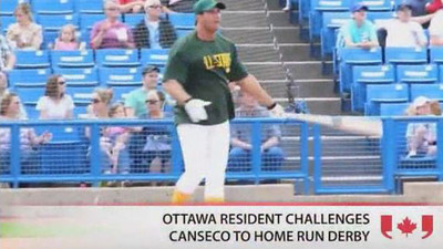 An Ottawa man challenges former Major League baseball player, Jose Canseco, to a home run derby.