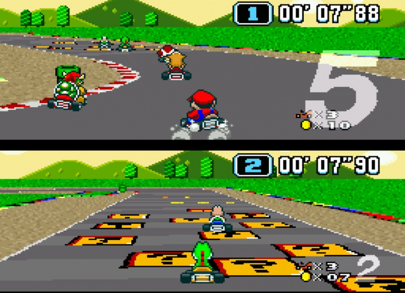 ". ""Super Mario Kart,\"" released Aug. 27, 1992, for the Super Nintendo Entertainment System."