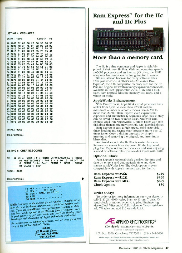 The bit-mapped shape file and the little program that creates the high scores file.  Another Applied Engineering ad.....they filled magazines back then.