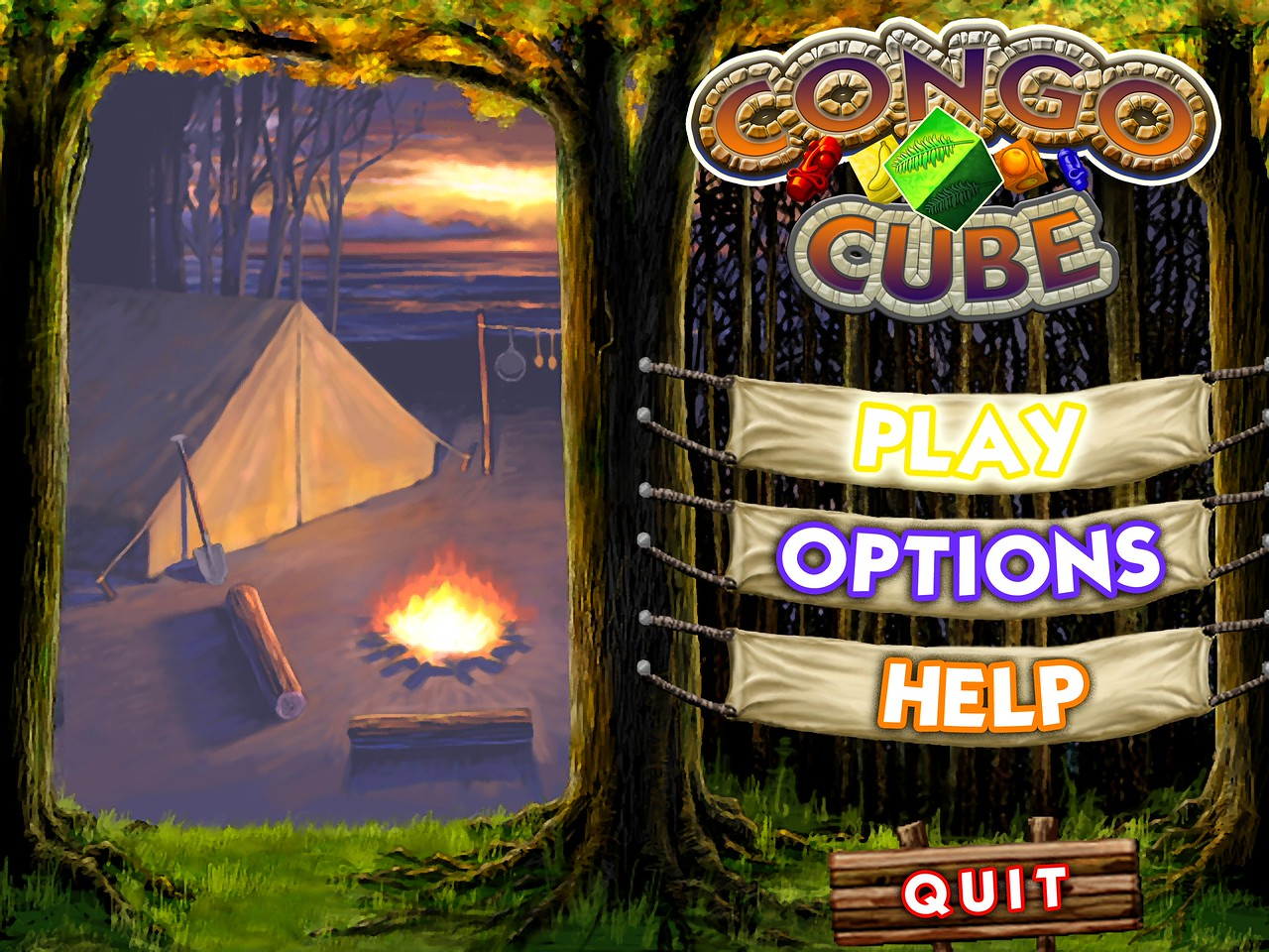 Here's a hi-resolution image of the Congo Cube main menu with its happy little campfire nearby.<br /> <br /> I really love the feel of the game with the Congo location graphics and the music....ahhhh....soothing.  <br /> <br /> Until you play the game, that is.