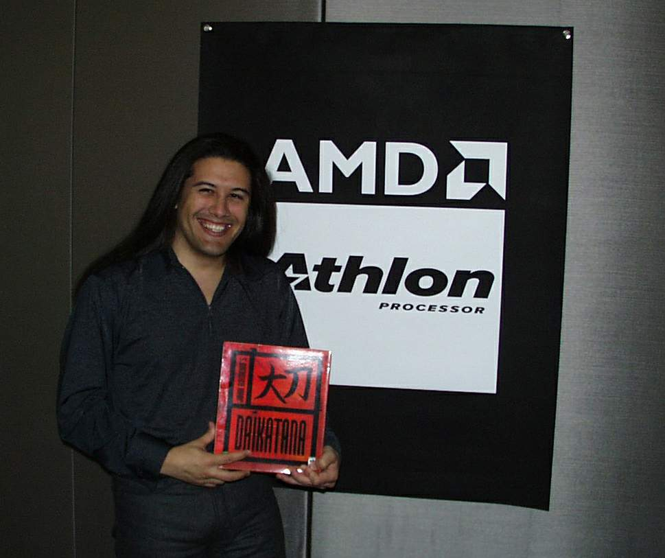 Heh - here i'm holding up a box for a picture that AMD was using for some promotion.  The pic was taken at Ion, right next to the DM area.