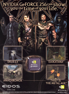 Eidos ran a lot of co-marketing ads back in the late 90's that included their current game's main characters.  Like Daikatana's Hiro Miyamoto and Anachronox's Sly Boots.