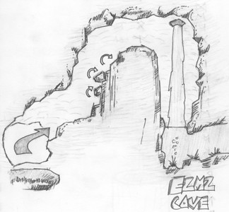 My sketch of the jumping cave section of E2M2.