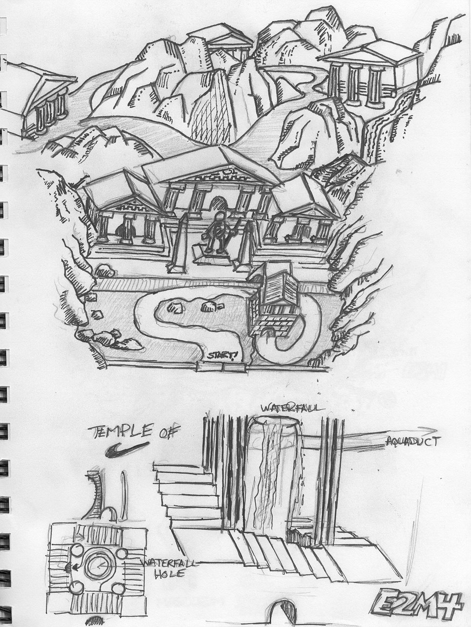 My sketch of the Temple of Nike part of E2M4.