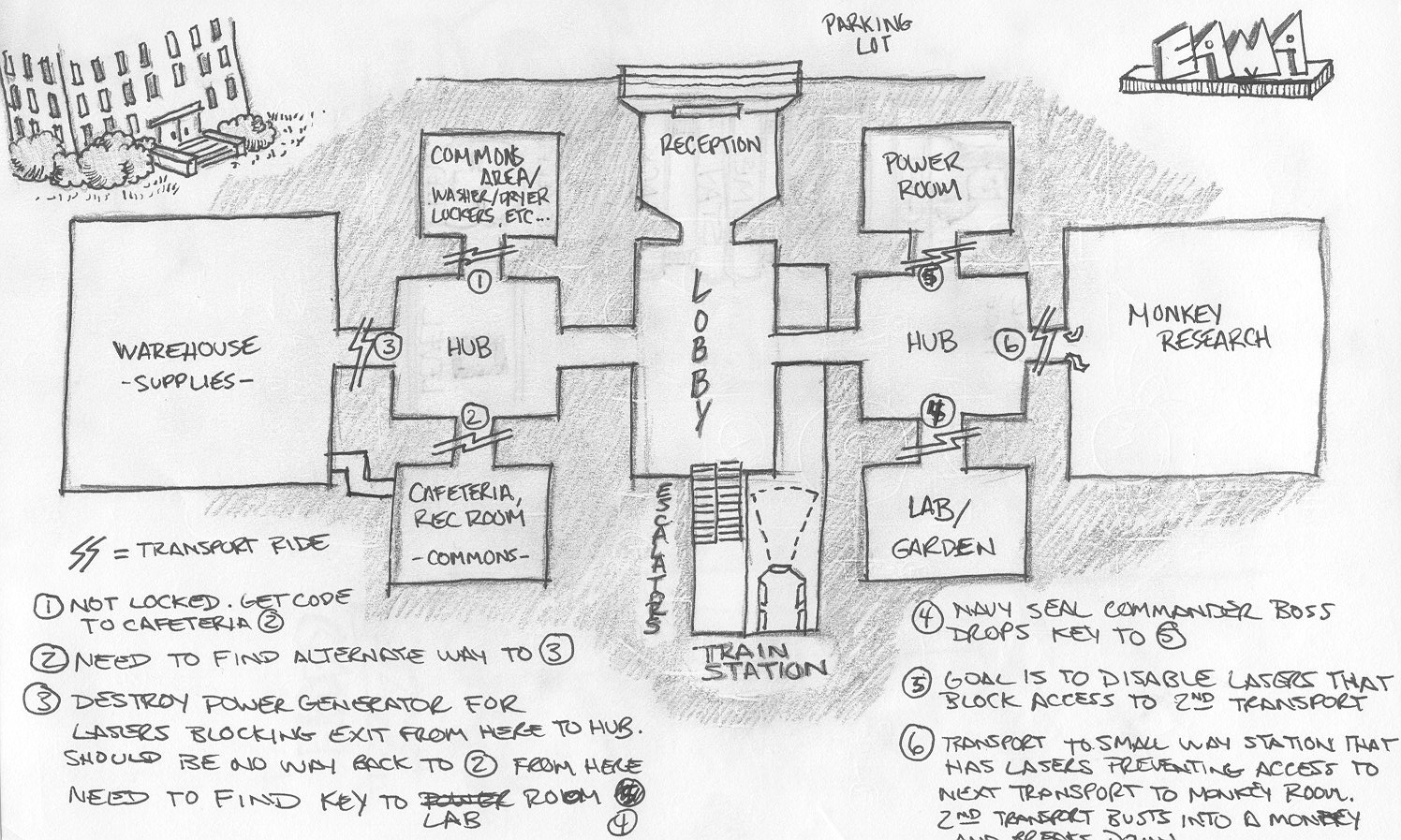 The research lab level, E4M4 sketch that I made.