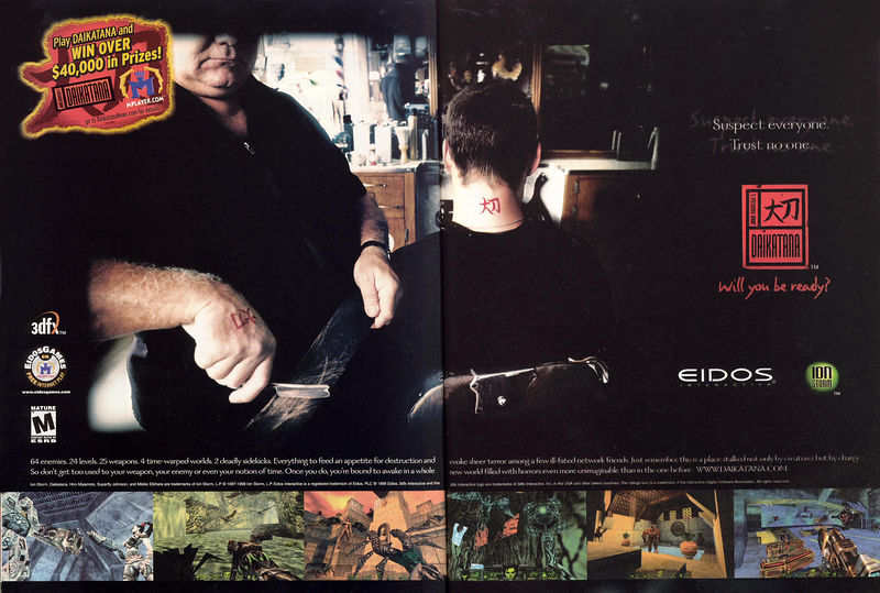 """Here's one of the 2-page ads for Daikatana.  I liked this one best.  The tagline """"Suspect everyone, trust no one"""" was tired and dumb even back then."""