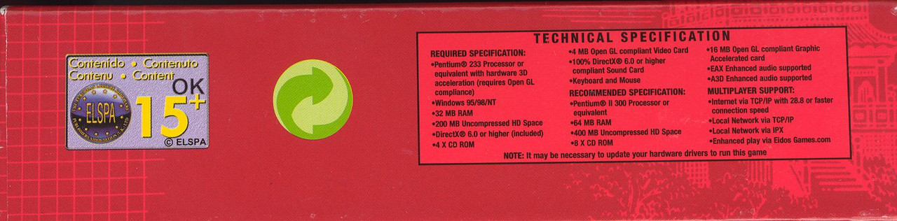 The bottom side of the Euro box so you could read the system specs and see the Euro rating.