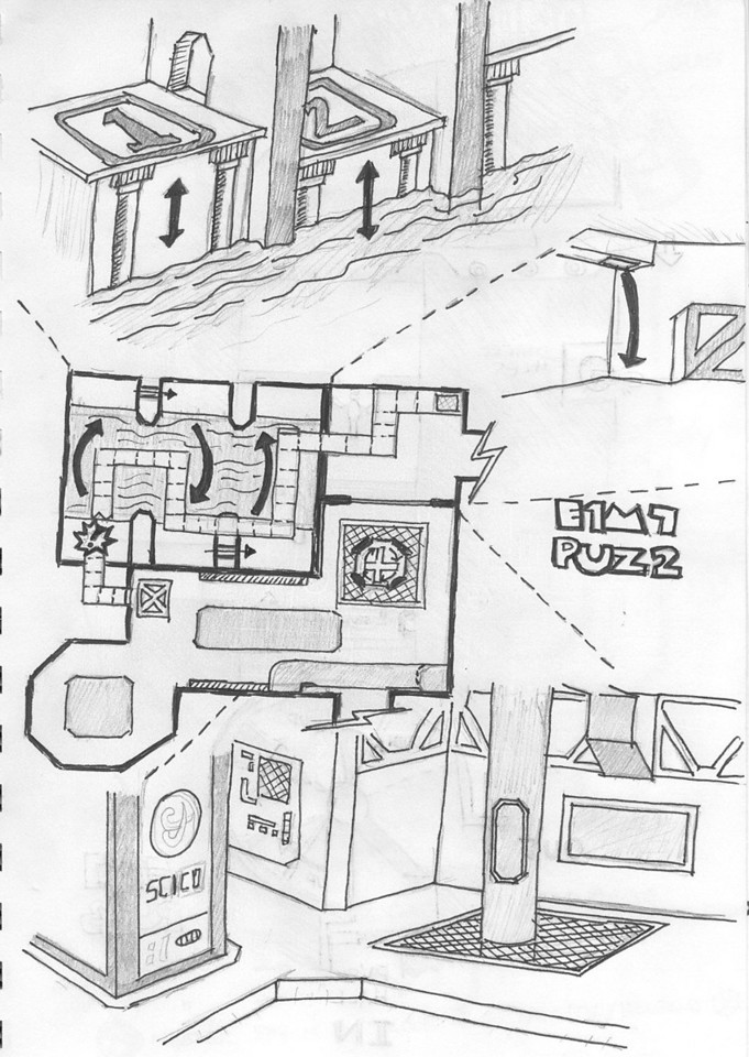 This is my sketch of another E1M7 jumping puzzle area. You start by climbing through the vents, then break through and fall into a slime area.