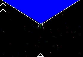 This is what it looked like - your ship at the bottom and the huge alien ship at the top.  The 2 triangles on the left are your two other ships you'll use when you die.