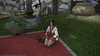 Relaxing in front of the FC house.<br /> <br /> Lady's Yukata (red).
