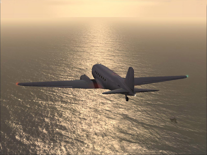 Douglas DC-3 at sunset in Microsoft's FSX.