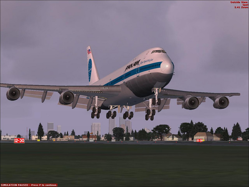 PanAm Boeing 747 by Project OpenSky flying in<br /> Microsoft Flight Simulator X