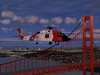 Sikorsky HH-60J JAYHAWK helicopter over the Golden Gate Bridge.