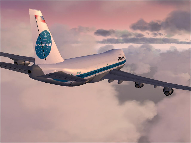PanAm Boeing 747 flying between cloud layers. FSX