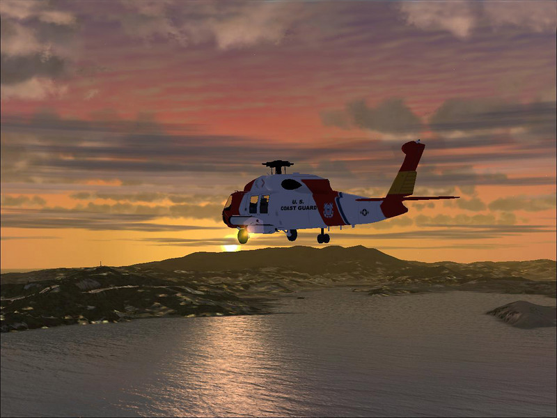 Sikorsky HH-60J JAYHAWK helicopter over San Francisco Bay at sunset. Screenshot from FSX by Microsoft.