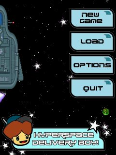 Pocket PC menu screen.  Click on the planets that sometimes speed by to reach the Warp Zone screen!