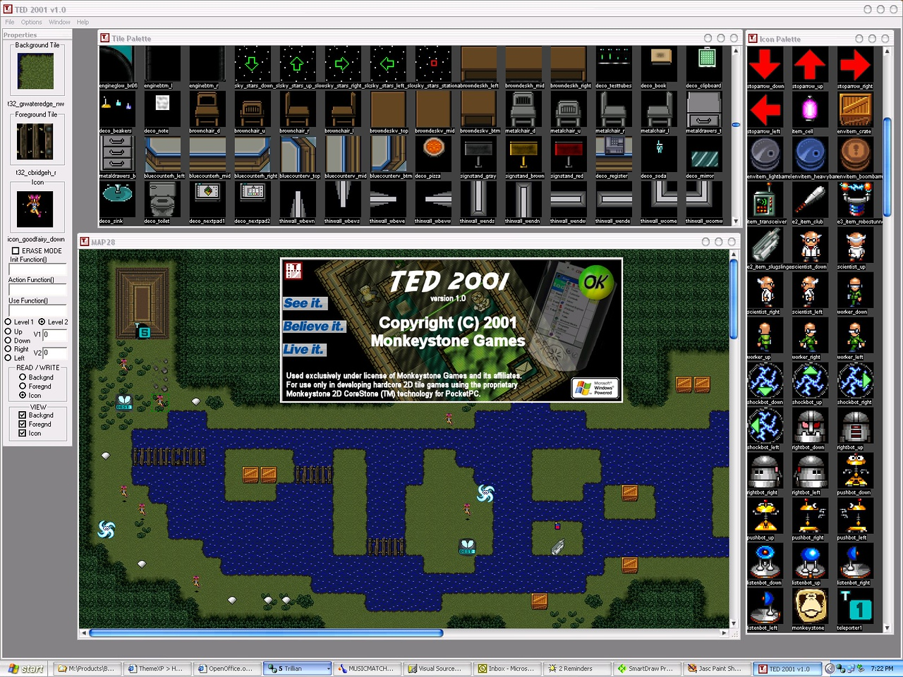 Here's a screenshot of the first Win32 program I wrote, TED 2001, the tilemap editor Tom used to create all of HDB's maps.  I wrote some crazy shit in the About... dialog and you'll see an old version of a room that Tom made using his own graphics.