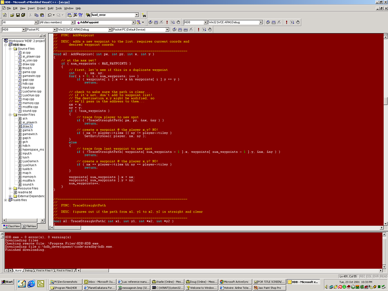Here's a screenshot of me coding in Embedded Visual C++ for the PocketPC build of HDB.  I was coding the waypoints (clicking the mouse will add a waypoint for Guy to follow).  I always had my PocketPC connected to my computer so when I compiled the code I could upload it into the device and test it out.  Really cool!