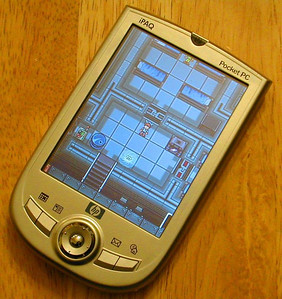 Here's HDB running on an iPAQ 1910 - super clear screen!  This pic was sent by my friend Doug Beck (RocketElite, Bust 'Em)