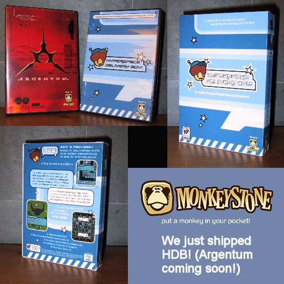 Here you can see the DVD case and PC box for Hyperspace Delivery Boy!  We actually never shipped anything in the PC box but we did deliver the game in the DVD case in the mail.  Argentum was a game developed by a friend that we published and produced.  It was hailed by the PocketPC gaming press as an extremely impressive achievement.  Javier Davalos was the coder and he lived in Argentina.  His company name was Ionside - hmmm.....very interesting name.