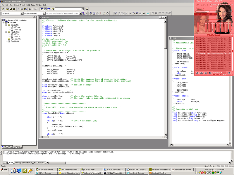 Here's a desktop capture of me coding the MSG tool.  MSG stands for MonkeyStone Grabber - it's a tool that basically reads a script file that describes where and how to grab graphics off screens, add data files, etc.