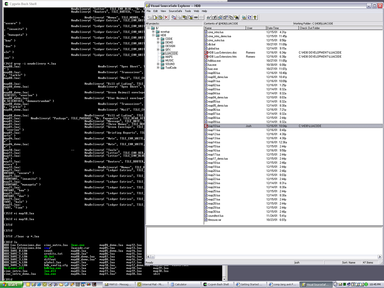 This is a screenshot of Josh Martel searching through Lua code files.  Josh wrote most of the Lua code for HDB.